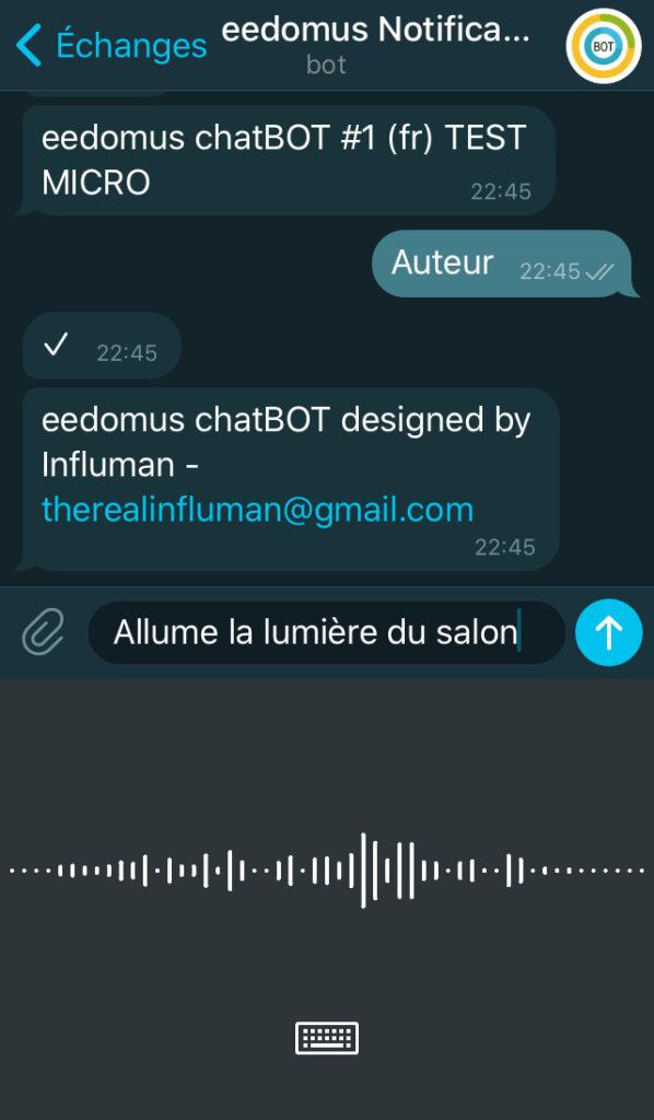dictée telegram eedomus
